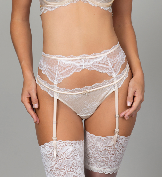 Charade Pas do pończoch Evelyn Suspender other Silver Peony With Angel White