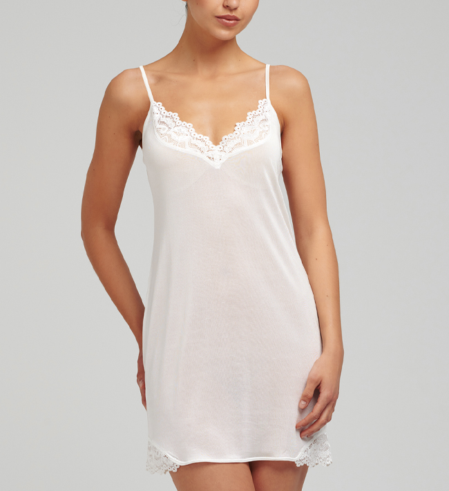 Silk Knit With Lace Chemise