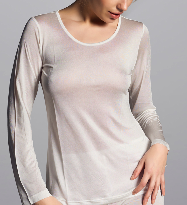 Basic Silk Knit T-Shirt L.S other Ivory