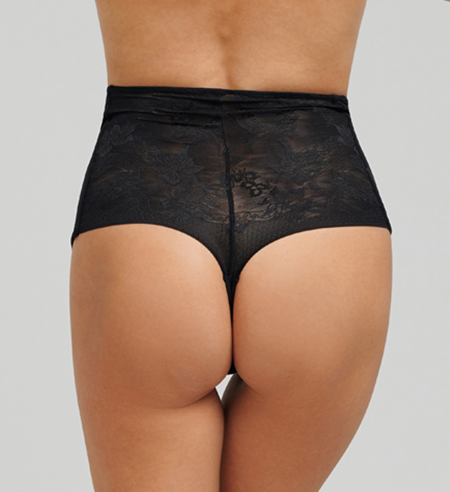 Basic Control Shape  Lace Hipster String High Waist other Black